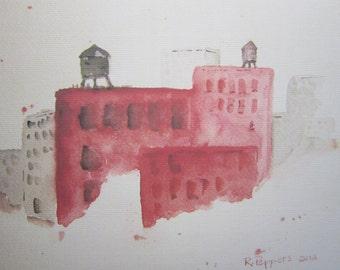 Brooklyn, watercolor print, watercolor art, watercolor landscape, cityscape painting, urban scene, city buildings, watercolor painting.