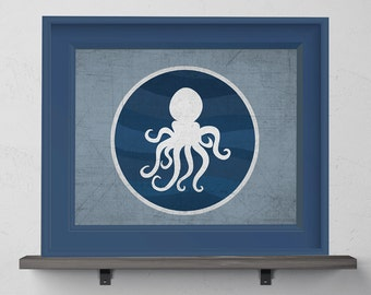 Blue Octopus Nursery Print 8x10, 11x14, 13x19