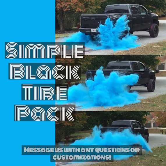 ORIGINAL BURNOUT Gender Reveal Simple Black Tire Pack for Peel Outs, Burnouts, or easy Drive Gender Reveals! 8 Color Options!
