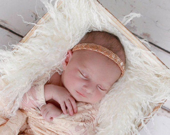 Beaded Headband in Peach for newborns, baby headband, newborn photos, baby bling, infant, photographer, infant by Lil Miss Sweet Pea