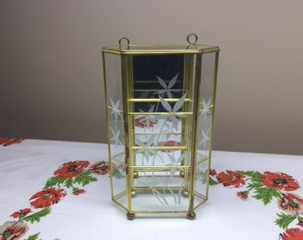 Brass and Glass Curio Display Case, Hanging Curio Display Case
