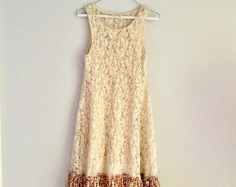 upcycled free people sun lace dress recycled dress romantic dress, Creme color size s, women, boho, hippie style, summer dress, beach wear