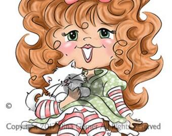 Instant Download Digital Stamp Digi Stamp Anna Lee Curly Girls by Dina Gerner