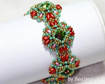 PDF Tutorial - Serafina Bracelet and Earrings Beadweaving Instruction Beading Pattern Instant download