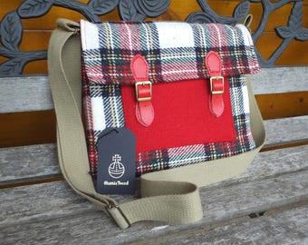 Harris Tweed satchel, messenger bag, wool bag,  stewart tartan, adjustable strap,  handmade bags, tweed, shoulder bag, cross body bag, check