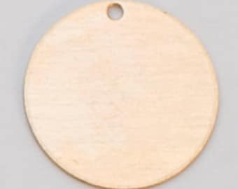 """Brass Circle With Hole 1/2"""" 24ga Pkg Of 6"""