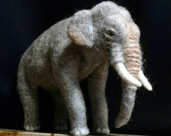 Asian elephant, felted from natural wool, Majestic, soft, agile, can take positions, Asia, zoo, game, animal