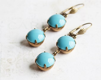 Turquoise Blue Earrings, Rhinestone Earrings in Antiqued Brass, Aqua Blue Dangle Earrings, Lever Back, Fashion Jewelry