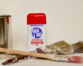 Erase A Hole, Fill holes in walls in two easy steps, apply and wipe.  2 Year Guarantee.  Water clean up, sandable, paintable.