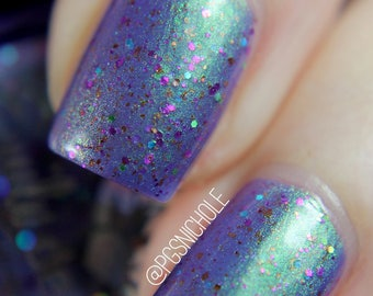 "Nail polish - ""The Eighth Letter"" A purple with green to pink shifting shimmer and glitters"