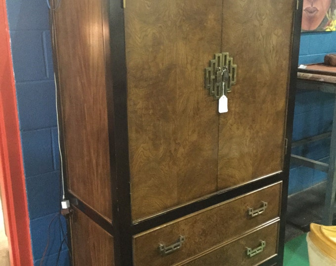 Chinoiserie Century Black Lacquered with Burled Front Chifferobe
