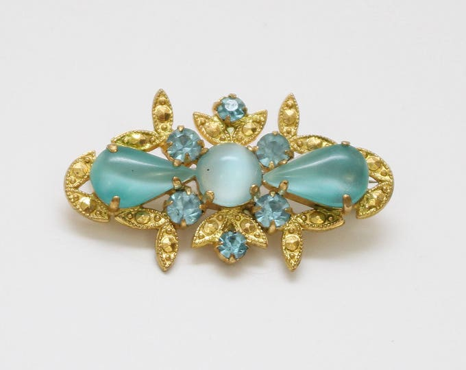 50s Frosted Stone Brooch - Vintage 1950s Gold and Turquoise Rhinestone Brooch