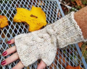 Off White Cable Knit Fingerless Gloves - Cream Handmade Fingerless Gloves - Wristwarmers - Arm Warmers - Women's Accessories -
