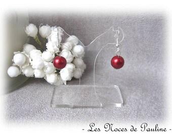 Earrings red pearls Sam