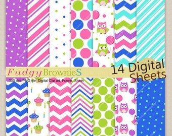 ON SALE Owls Digital Paper pack ,birthday owl,summer owl,cute hoot clip art,invites,chevron,digital scrapbooking, No.218/2,purple Blue pink