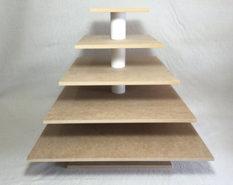 5 Tier Square Custom Made Larger Capacity Unfinished Cupcake Stand .  Holds up to 200 Cupcakes.