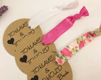 To Have and To Hold Your Hair Back Bachelorette Party Hair Ties Party Favors