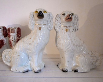 Pair of Staffordshire Dogs, Fireplace Staffordshire Dogs, Wally Dogs, Spaniel Dogs, Staffordshire Flatbacks, Large Staffordshire Dogs