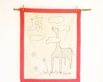 Giraffe baby girl blanket embroidered, pink nursery decor, newborn baby girl gift, bedcover cot bedding girl, Girl bedding toddler bedspread