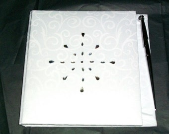 Wedding guest book white with pen and rhinestones large