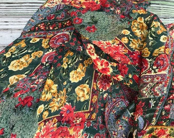 Vintage April Cornell Scarf Large Semi Sheer Autumn Colors Florals Cornell Trading