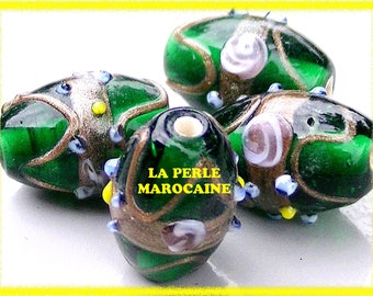SET 4 COLORS GREEN LAMPWORK GLASS BEADS DARK TRANSPARENT-20 * 15 MM SINGLE BEAD