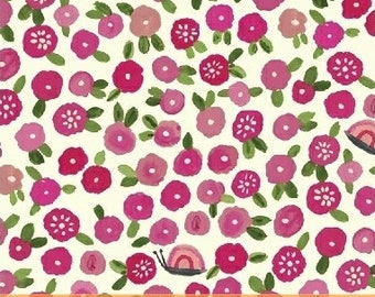 ORGANIC Cotton Posies on Pink with Snails Windham Fabrics BFFS Collection Carolyn Gavin Baby Quilt Blanket Summertime Children Sundress