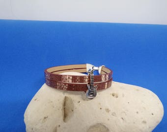 Bracelet Brown strap with Pearl bandwidth guitar