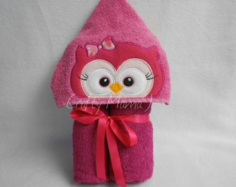 """Pink Owl Hooded Bath Towel. 9 1/2"""" Hood. READY TO SHIP!  Perfect gift! Can be personalized."""