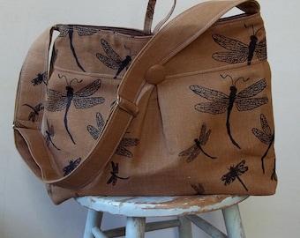 Knitting Bag Craft Bag XL - Dragonfly - Adjustable Strap - 9 Pockets - Key Fob
