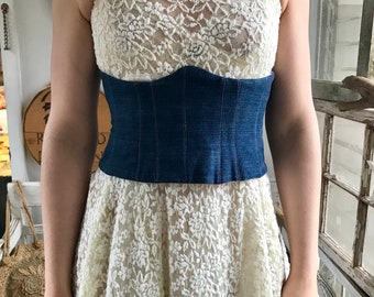 Denim Story Corset by Restored By Design