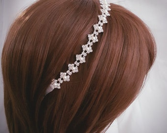 Wedding headpiece, headband, Rhinestone Headband, Wedding Headband, Bridal Headband, Bridal Headpiece, Rhinestone Headbands, Ribbon