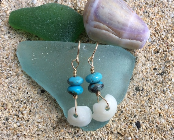 Hawaiian Puka Shell, Blue Turquoise, 14k Gold Filled Earrings
