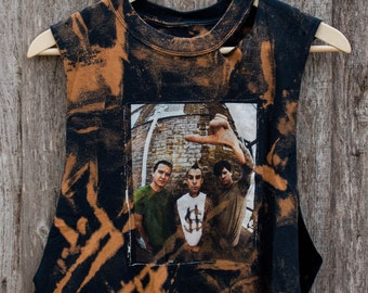 Blink 182 - Distressed shirt - Custom band shirt - Reworked band tee - Bleached shirt - Shredded Dreams - Small