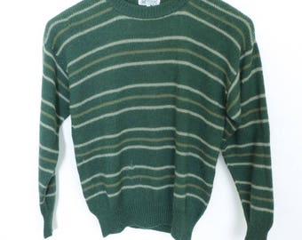Size S - Kumpi vintage green 100% alpaca wool sweater, hand knit in Bolivia