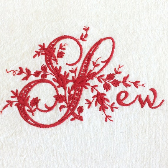Elaborately embroidered monogram as 'Sew' motif - for your own craft projects.