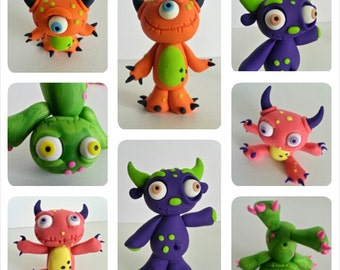 Monster Birthday Cake Topper, Clay Monsters Keepsake, Childrens Birthday Cake Topper, Monster Figurines, Custom Clay Cake Topper, Monsters