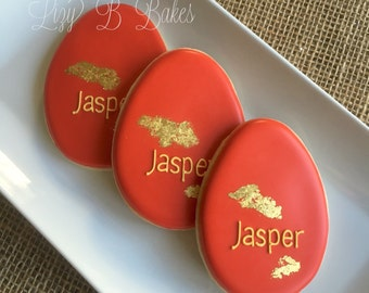 12 Red Egg Baby Cookies with 24k edible gold leaf!