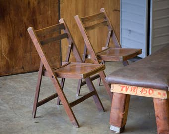 Pair of vintage, folding chairs