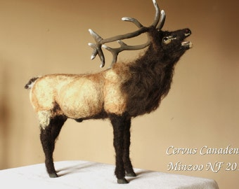 Needle felting Deer, felted animal sculpture,  Elk decor, Wapiti, animal sculpture, wild animal