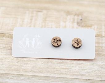 Wood Tree - Laser Cut Stud Earrings - Tree of life earrings - Wooden earrings - wood earrings - Australian Seller