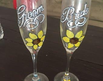 Handpainted Sunflower Wedding Champange Flutes, Bride & Groom Gift
