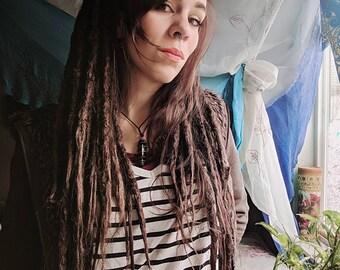 Dark Brown Auburn Dreadlock Wig. Dread wig. Full wig. Dreadlock extensions. Synthetic dreadlocks. Synthetic dreadlock wig. Made to order.