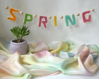 Spring Banner for Seasonal Corner: Waldorf Inspired Nature Table Decor (Natural Wool Felt & Optional Playsilk)