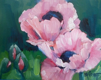 Flower Still Life, Original Poppy Painting, 6x8 Oil Painting, Free Shipping in USA