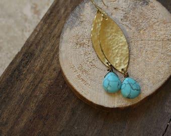 hammered brass leaf earrings, turquoise earrings, metalwork earrings, gold filled earrings, boho earrings, boho jewelry