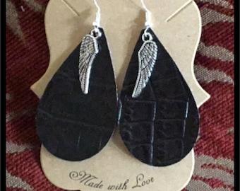 Faux Leather Teardrop Earrings with Angel Wing Charm