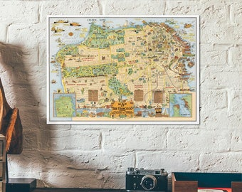 Cartoon usa map Etsy