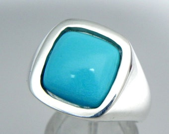 AAAA Sleeping Beauty Turquoise Cushion cut   12x12mm  6.50 Carats   14K White gold Mans Ring 15 grams from Arizona MMM