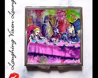 Alice In Wonderland Mirror - Compact Mirror - Pill Box - Tea Party Psychedelic Compact - Mad Hatter Looking Glass - Pill Case - Pillbox